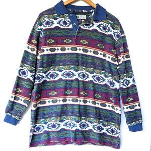 VINTAGE Aztec cozy flannel oversized polo shirt